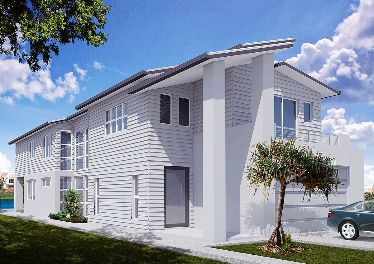 Exterior 3d visualisations 3d house sunshine coast for House exterior design photo library