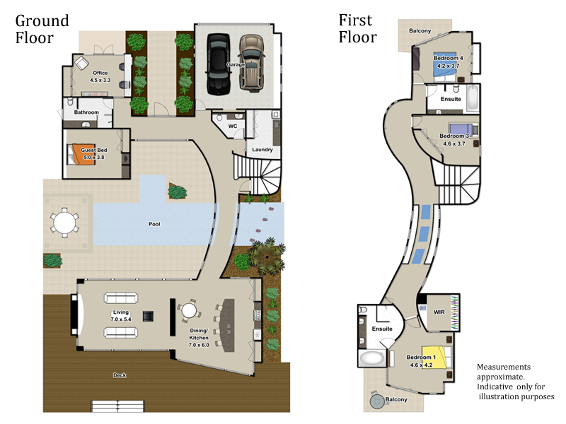 real estate floor plans - 3d house | sunshine coast, queensland